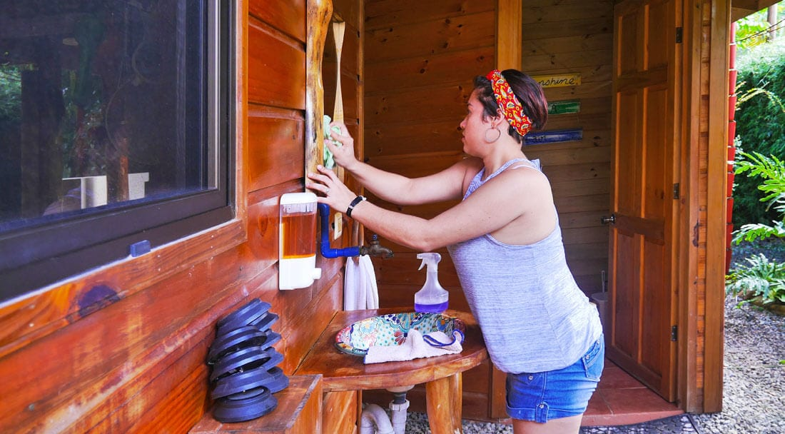 Biodegradable cleaning products at the Bodhi Surf + Yoga lodge