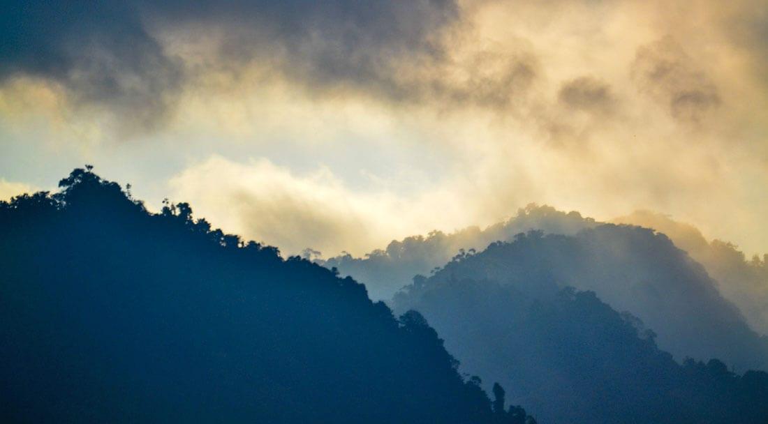 Misty mountains in Bahia Ballena, Costa Rica