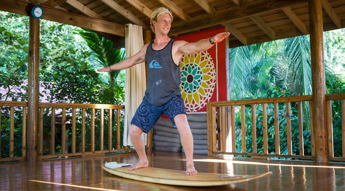 Warrior II Yoga pose for beginner surfers